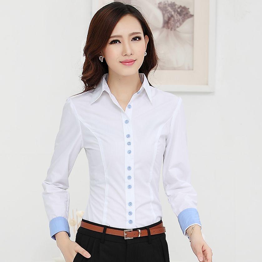 8a4a8d65a Nueva 2015 otoño invierno mujeres de algodón de manga larga ropa del  desgaste OL trabajo más el tamaño blusa para mujer camisas en Blusas y  Camisas de Moda ...