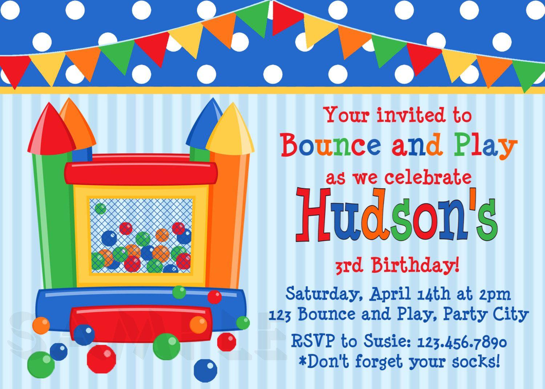 Bounce House Birthday Invitations Bounce House Birthday Party Invitations Printable Boys Or Girls 15 00 Via Etsy Invitaciones