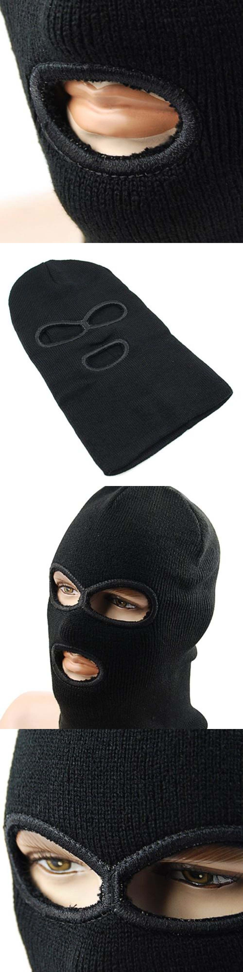 LINTOY 3 Hole Hot Mask Balaclava Black Knit Hat Face Shield Beanie Cap Snow  Winter Warm 43ef3a6f9685