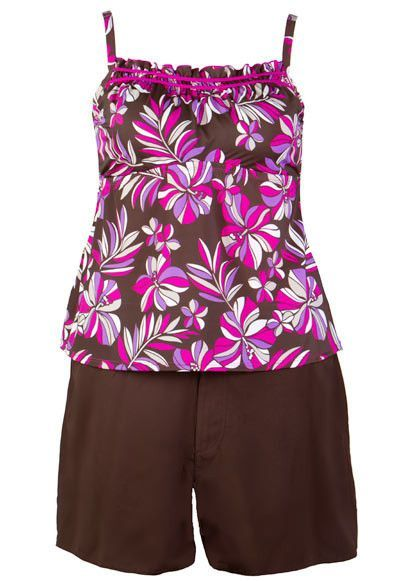 Sold Out - Two-Piece Swimsuit with Brown Board Shorts - Hibiscus - Final Clearance