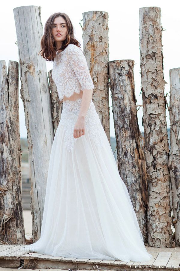 Christos Costarellos 2016 Wedding Dresses Two Piece Wedding
