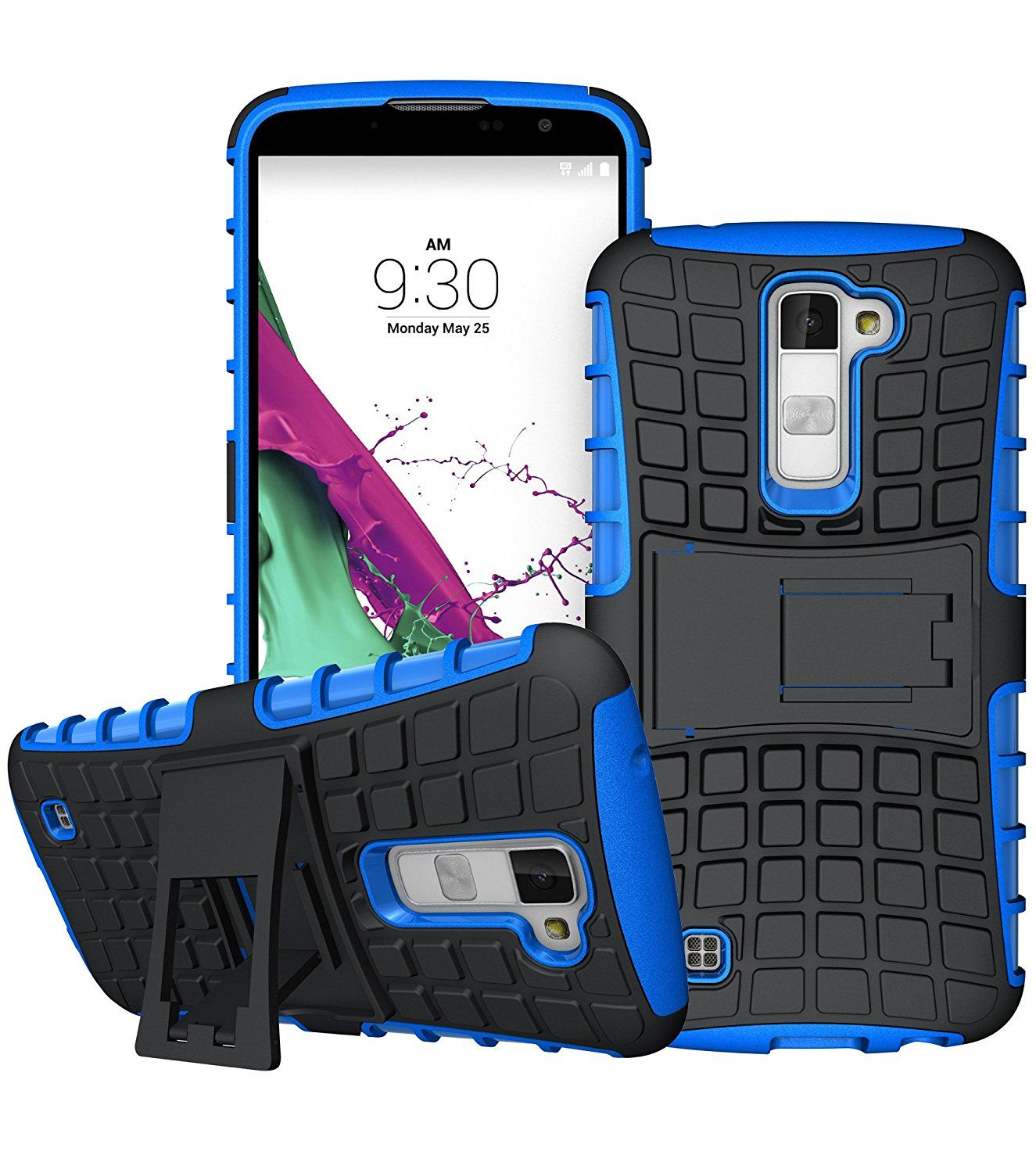 LG K10 Case,LG Premier Case,DIOS CASE(TM) Heavy Duty Tyre Texture Dual Layer Hybrid Hard Plastic Rubber Armored Protection Rugged Impact Resistant Kickstand Cover for LG K10 / LG Premier LTE (Blue) -- This is an Amazon Affiliate link. Click on the image for additional details.