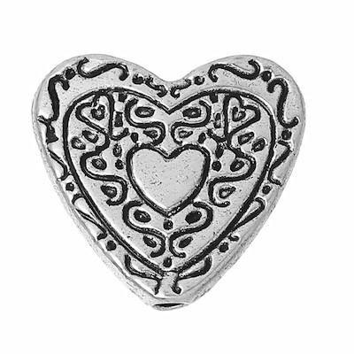 BD118 - Antique Silver Heart BeadBeads - Kismet Mosaic - 1