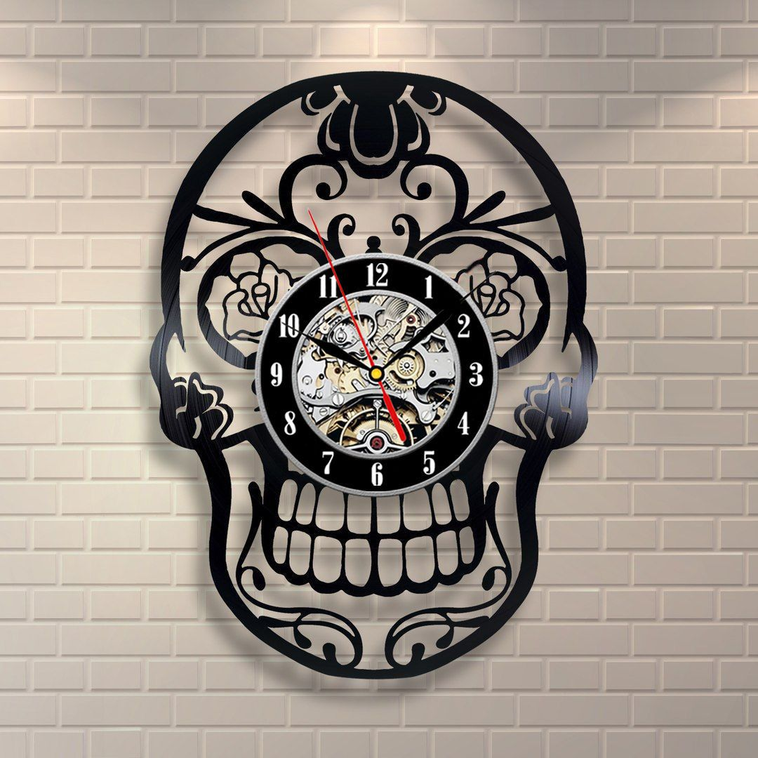 Pin By Barbara Merotto On House Stuff Skull Decor Wall Clock Modern Vinyl Record Clock