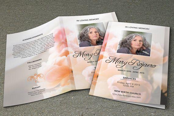 Funeral Program Template Memorial Obituary Template Etsy Funeral Program Template Free Brochure Template Funeral Programs
