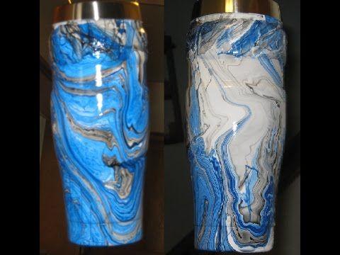 Diy How To Make Swirl Spray Painted Yeti Ozark Trail Rec Pro Youtube Yeti Cup Designs Diy Tumblers Tumbler Cups Diy