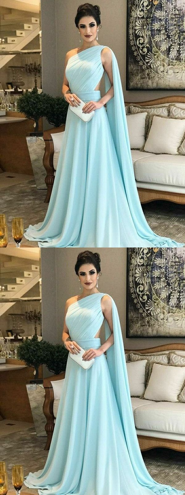 Chic a line chiffon prom dress modest beautiful cheap long prom