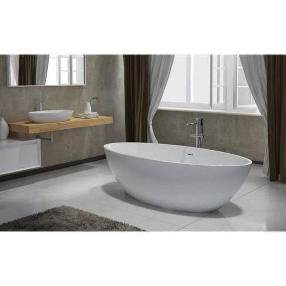Freistehende Badewanne aus Mineralguss RIO STONE weiß - 180 x 85