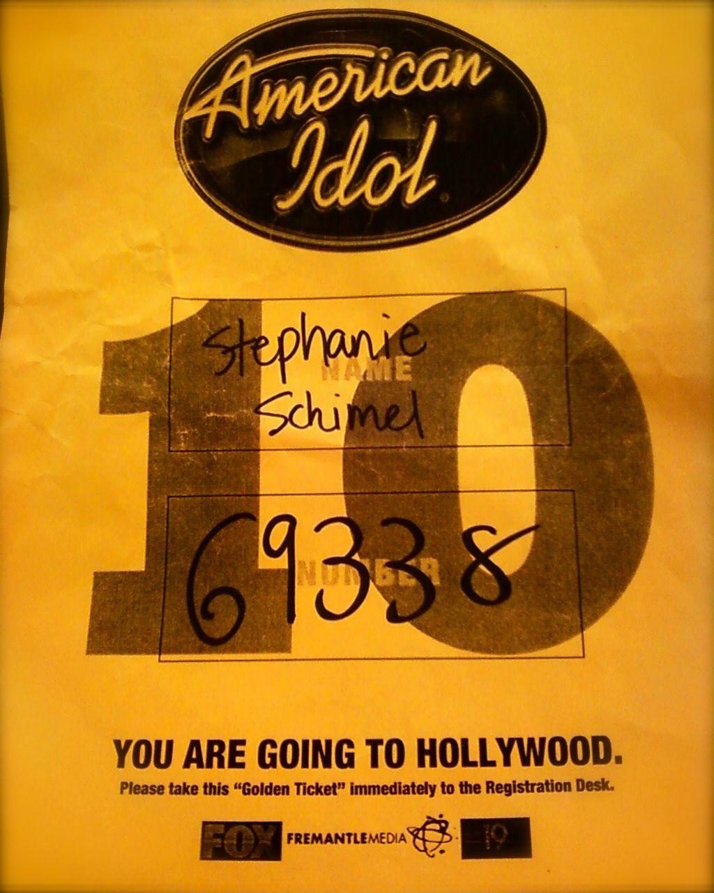 American Idol Stephanie Schimel Ticket From Last Year Season 12