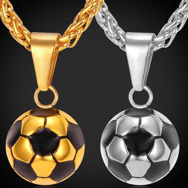 b8ca4f5c053a Pelota de Futbol y Cadena Acero Inoxidable Soccer Para Hombre y Mujer Oro  Plata  Unbranded  Soccer