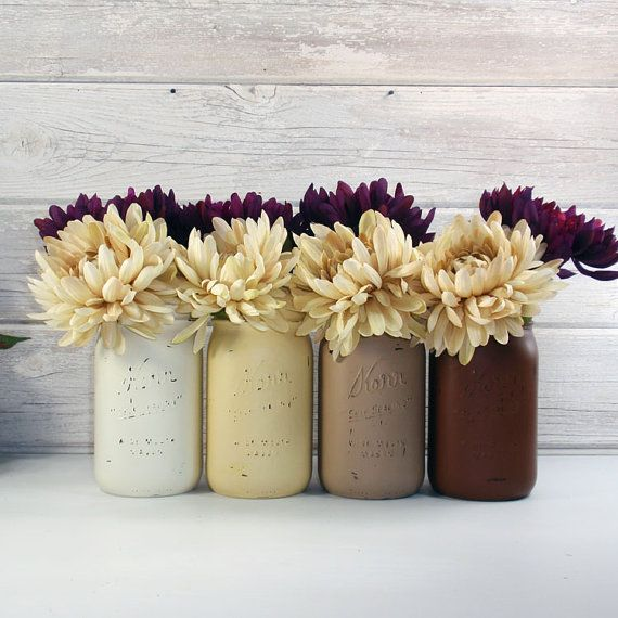 4 Hand Painted Quart Wide Mouth Mason Jar Flower Vases Fall
