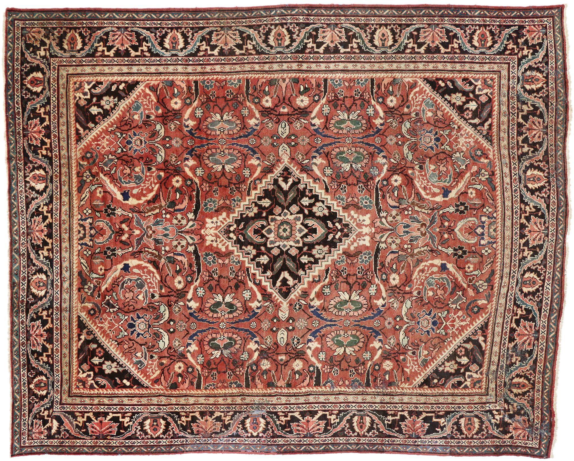 11 X 13 Vintage Persian Mahal Rug 74573 Vintage Persian Rug Rugs Rustic Luxe 11 x 13 area rugs