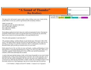 sound of thunder by ray bradbury annotation organizer students a sound of thunder by ray bradbury annotation organizer