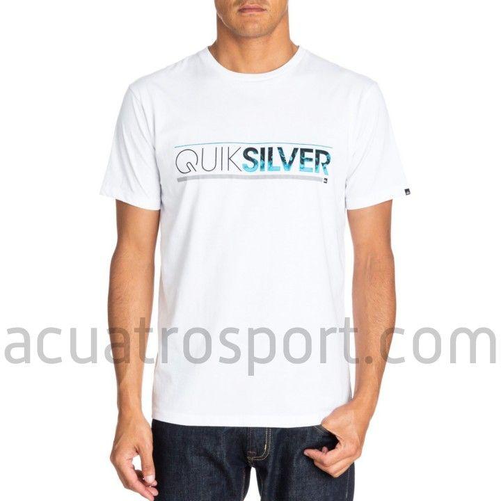 Camiseta Quiksilver Classic Tee para hombre. Color blanco con estampado  frontal. Diseño en cuello