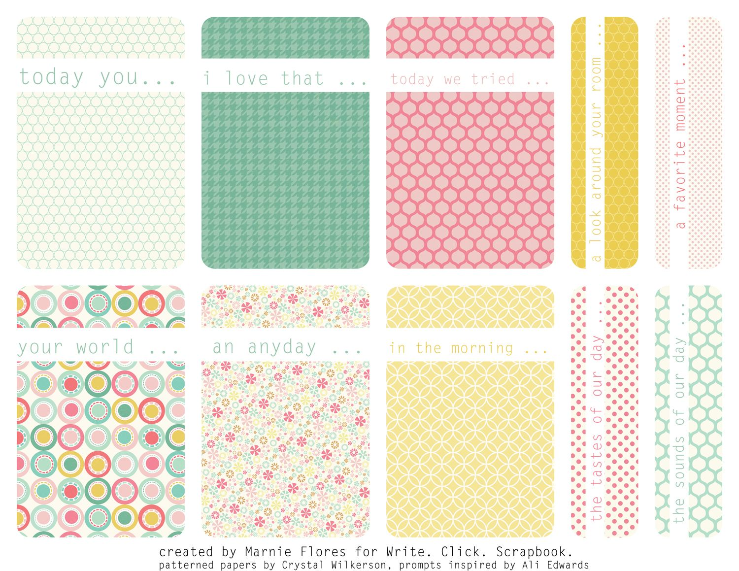 Free printable Journal cards (or filler cards) - from write click scrapbook