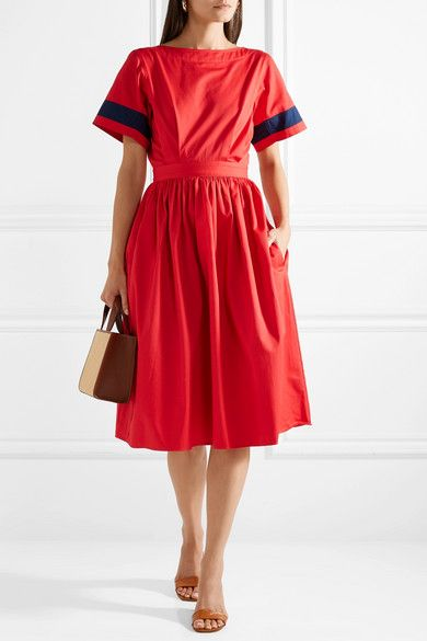 Dirndl Striped Cutout Cotton-poplin Dress - Red Tome TZ4LFJ