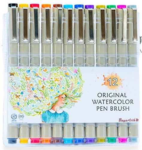 Colored Brush Pens By Buyartosh 12 Water Based Markers With