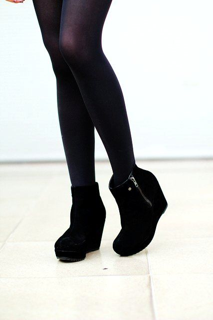 Black Zip Suede Wedge Boots Ankle Boots | Cool stuff to buy ...