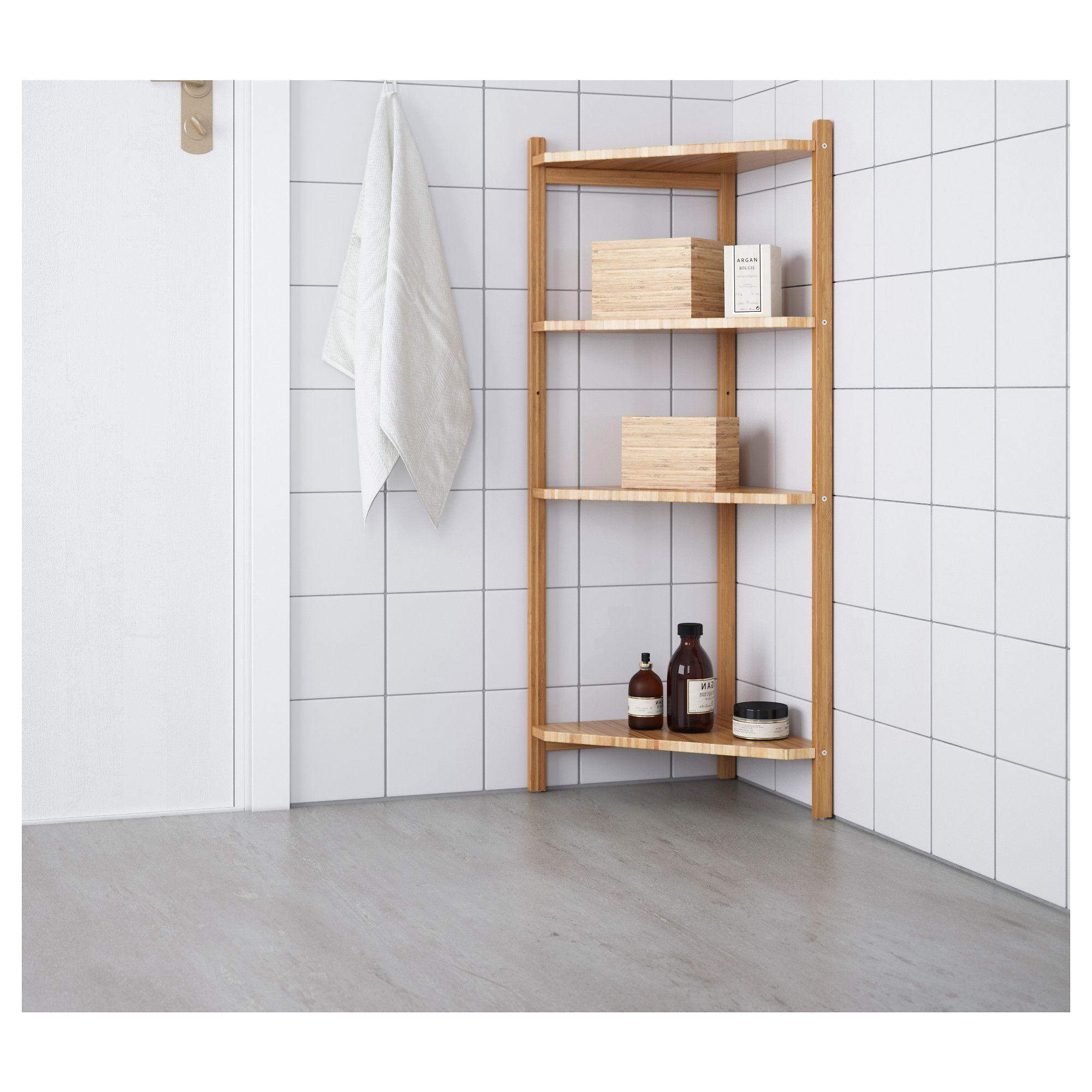 IKEA RÅGRUND corner shelf unit Bamboo is a hardwearing natural ...