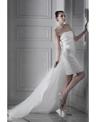 adf0c3d172 Brillante Vestido de Novia Hasta la Rodilla con Strapless Volante Cola  Watteau Corte Recto
