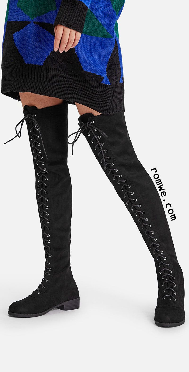 Lace Up Front Over Knee Suede Boots