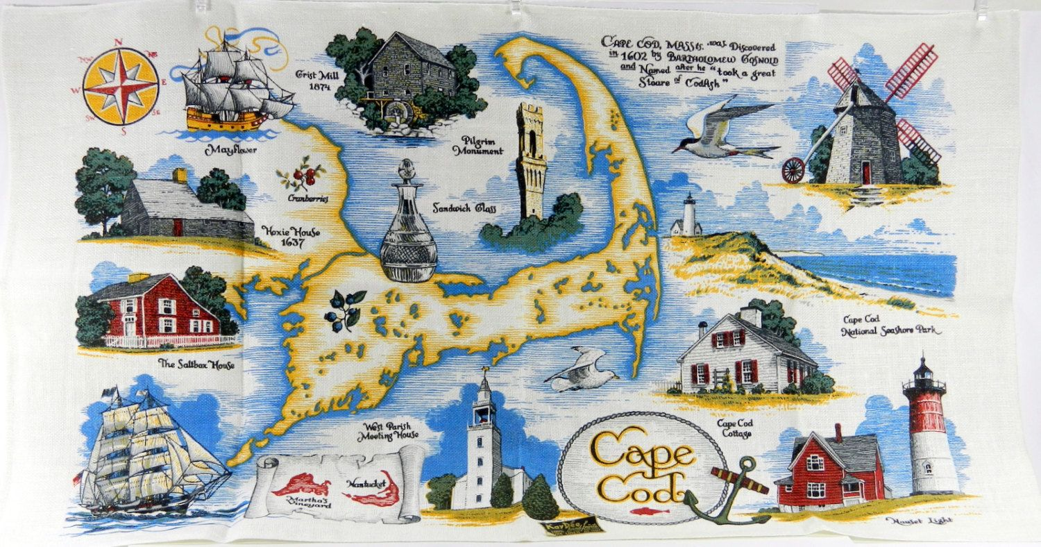 Cape Cod Vintage Linen Kitchen Towel NWT Kay Dee Compass Rose Anchor ...