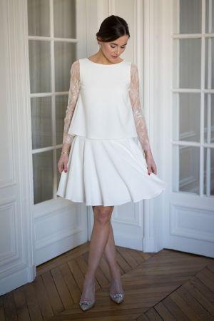 Robe de mariée, mariage civil, manche en dentelle de Calais modèle  Balthazar - l atelier de Camille, tsniout, Wedding dress f8cd0e162019