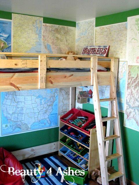 Boy S Room Loft Bed Play Area Under Loft Maps On Wall