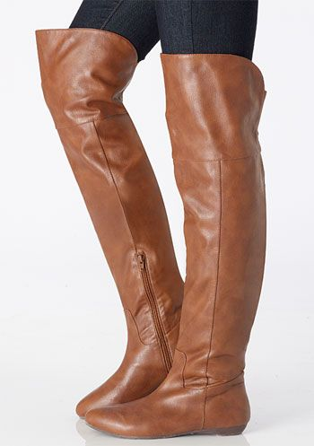 76b931c1735d LOVE THESE BOOTS! Over the knee. Leather. Flat. Warm. Perfect. I have them  in this camel color AND black because I love them so much.