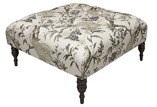 One Kings Lane - The Well-Dressed Room - Elliot Tufted Ottoman, Sepia/Ivory
