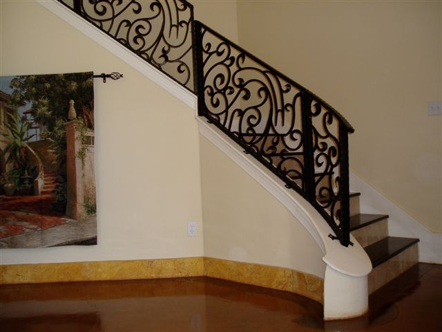 Wrought Iron Ornamental Metal Decorative Stair Railings Railing | Decorative Handrails For Stairs | Brushed Nickel | Popular | Corner Interior Stair | Exterior Irregular Stair | Iron Staircase