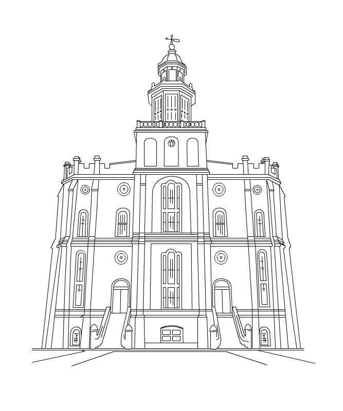 free lds clipart to color for primary children | St George Temple ...