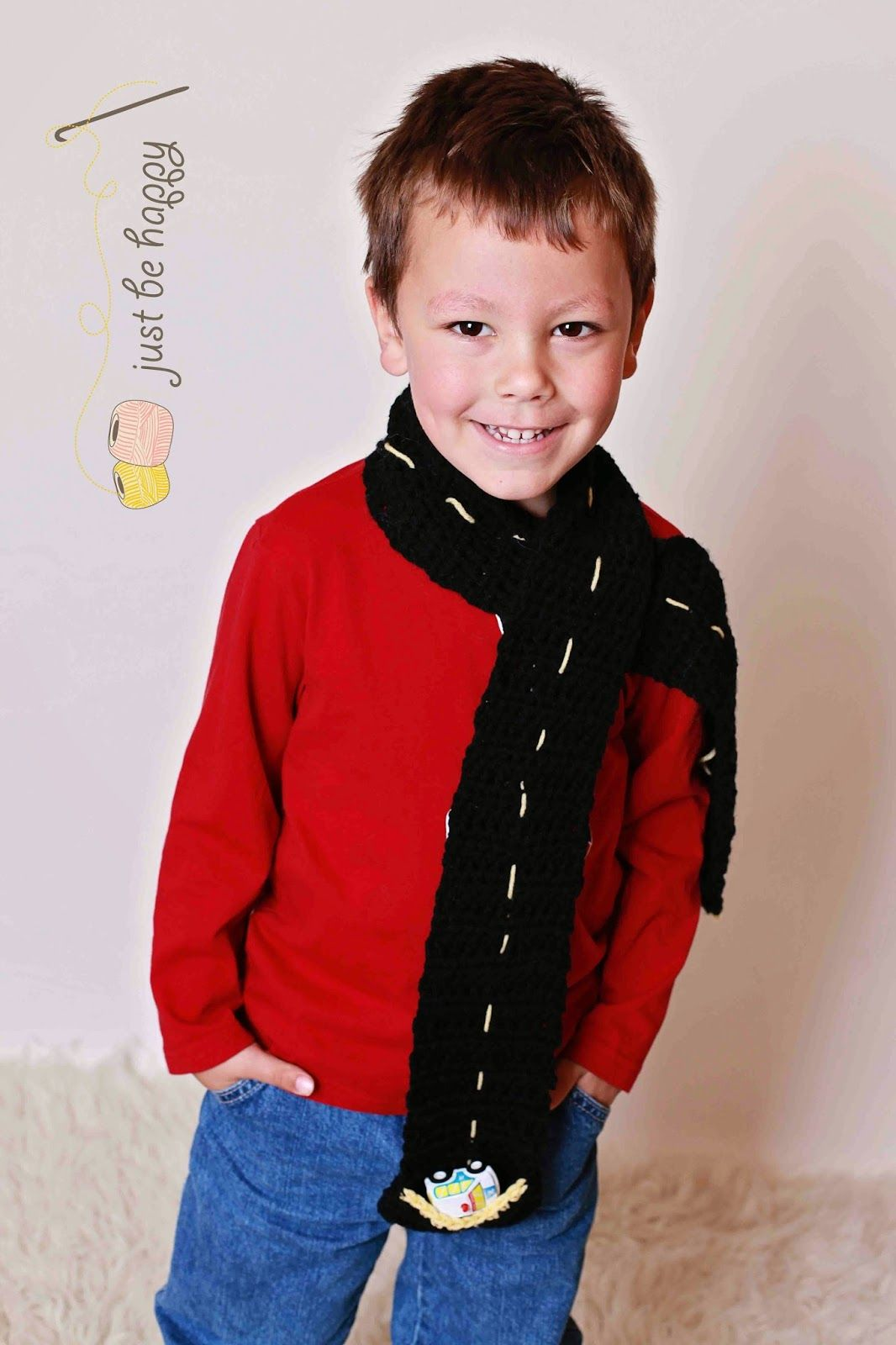Just be happy road scarf free crochet pattern fiber arts this boys scarf is designed to look like a road so he can take it off and play toy cars on it free crochet pattern from just be happy bankloansurffo Gallery