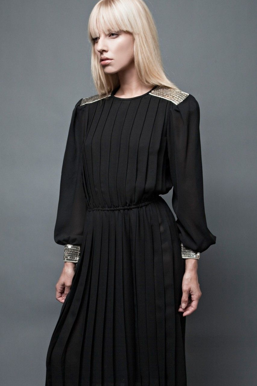 80 S Sheer Pleated Black Dress With Silver Sequin Epaulette Shoulder Pads Black Sheer Dress Dresses Black Pleated Dress [ 1280 x 853 Pixel ]