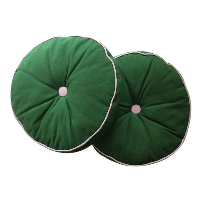 A Pair of Pink & Green Round Accent Pillows A Pair of Pink & Green Round