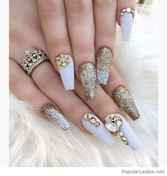 Golden Glitter Long Gel Nails Love The Ring Design Nail Art