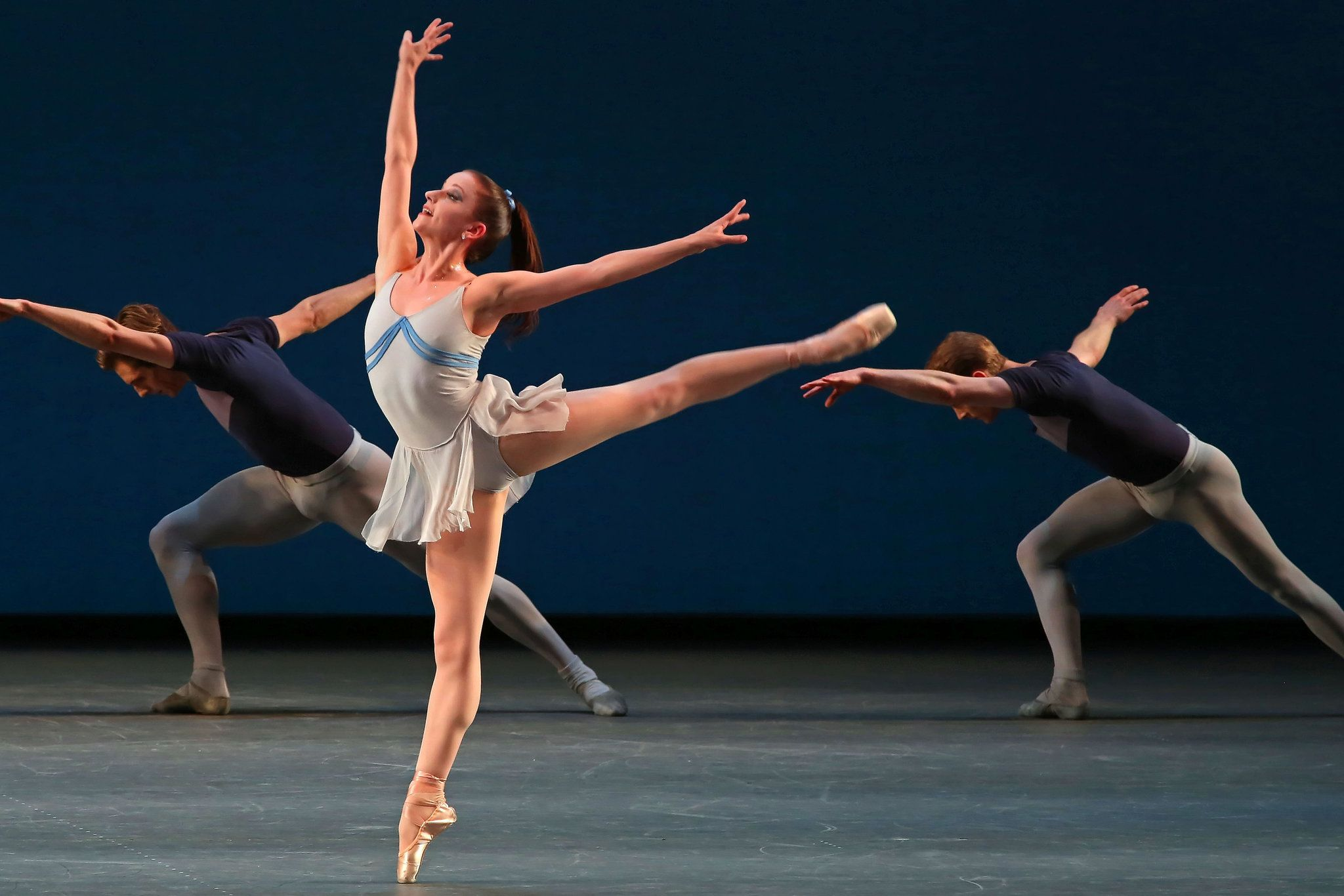 """Abi Stafford and members of the company in Balanchine's """"Kammermusik No. 2."""" Andrea Mohin/The New York Times"""