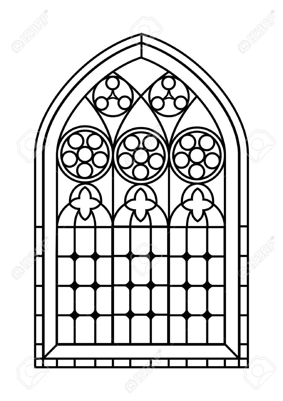 41957087 A Gothic Style Stained Glass Window In Black And White