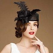 Beautiful Flax  Wedding/ Party Hat With Feath... – USD $ 36.99