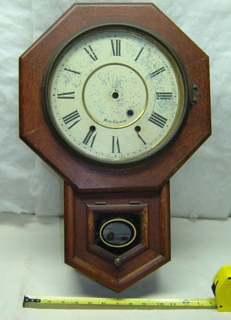 Antique Seth Thomas Schoolhouse Wall Clock case with some parts