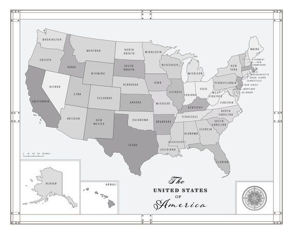 United States of America [Black and White] State Boundaries ...