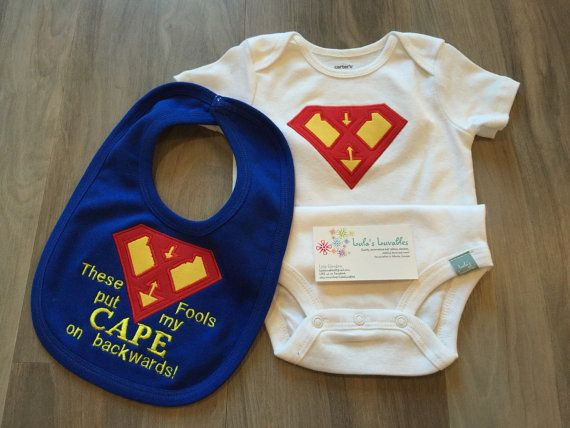 Embroidered Baby Bib superhero These fools have put my cape on backwards