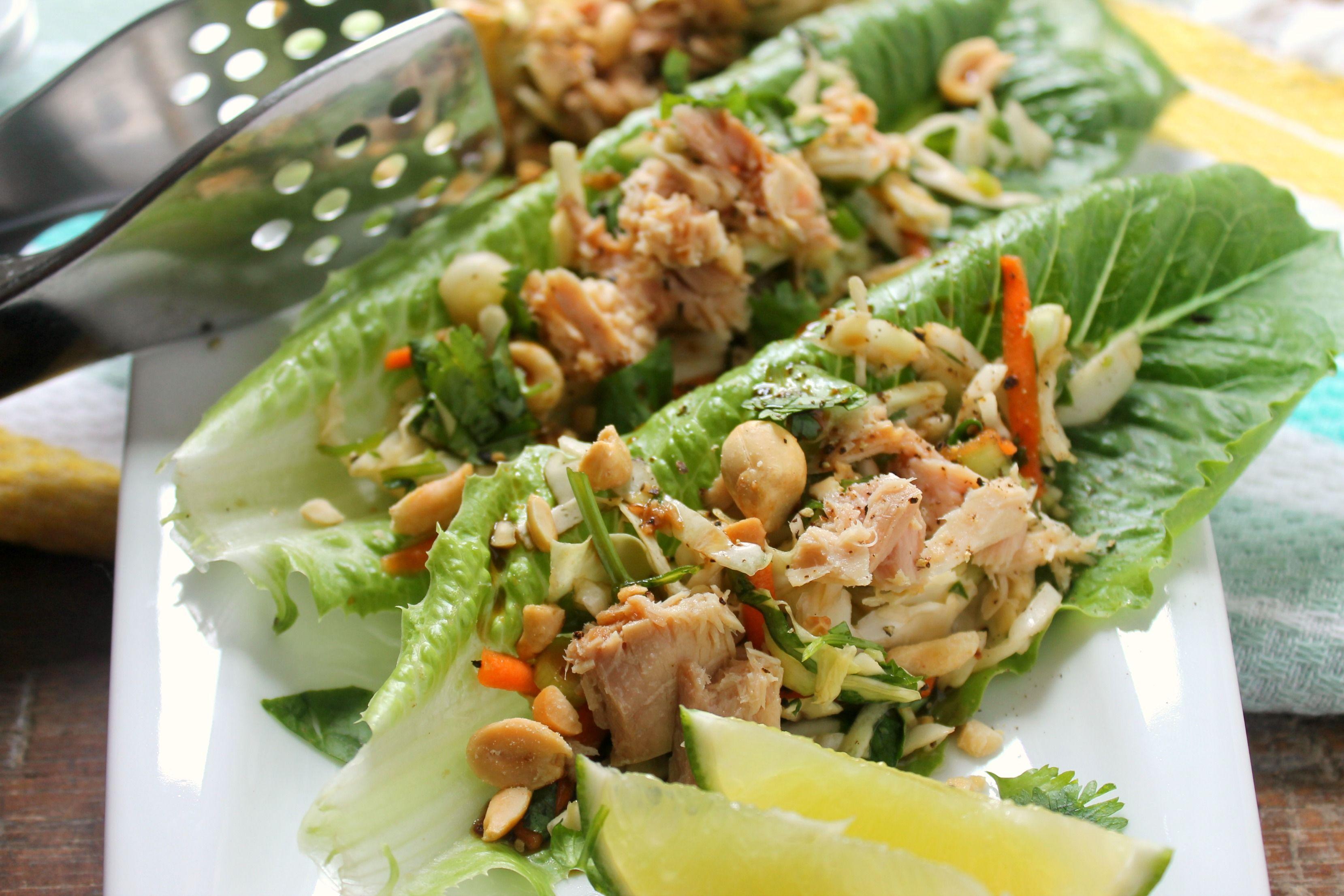 Asian Inspired Tuna Lettuce Wraps via JennySheaRawn.com