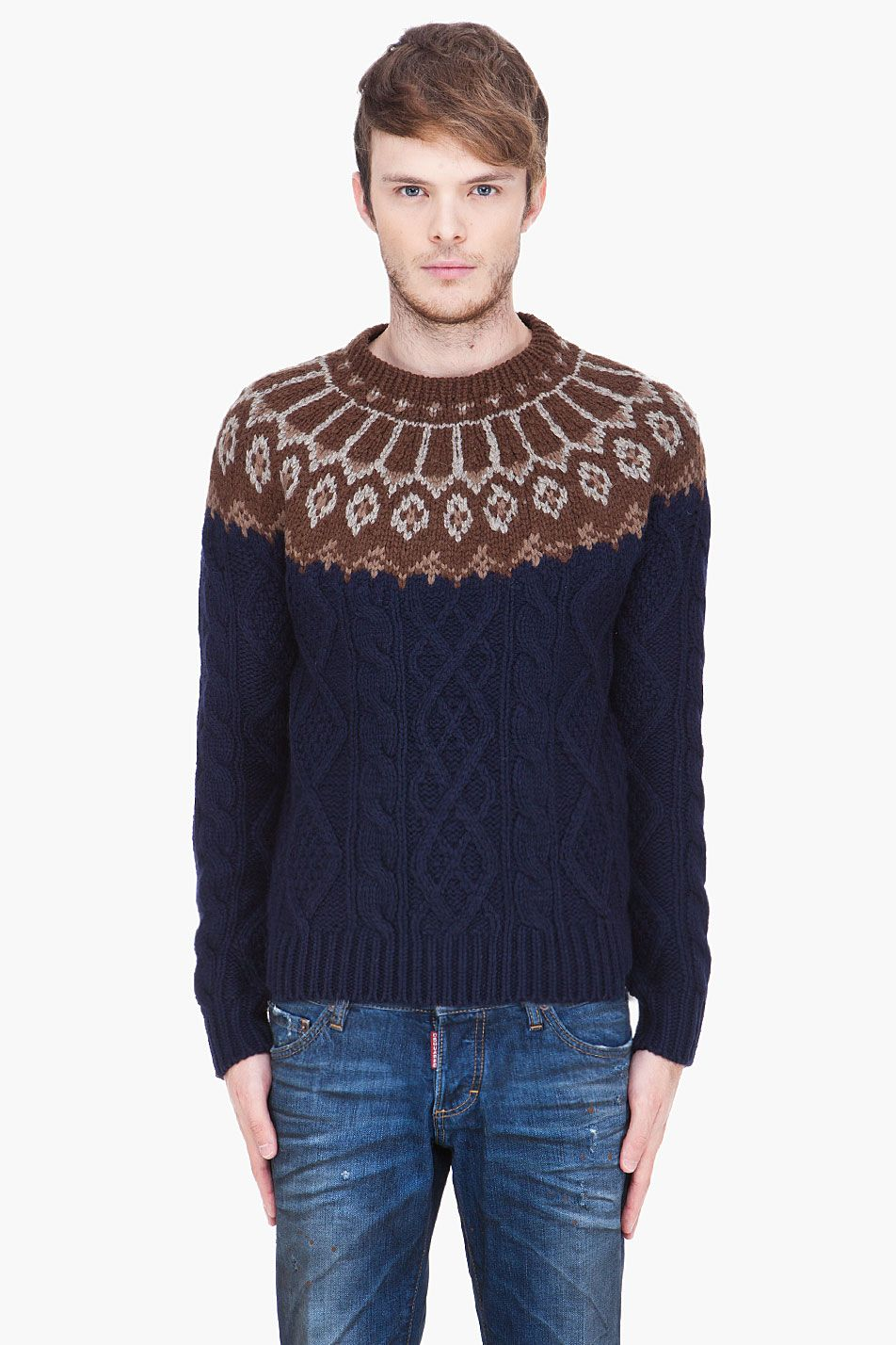 ea98f654ba Lopi sweater + Navy Gansey SASQUATCHFABRIX navy and brown Nordic Fisherman  Knit
