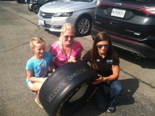 "Goodyear Racing on Twitter: ""Goodyear materials manager Jennie Tinney & her daughter Brianna presented @DanicaPatrick a special tire at Kentucky. https://t.co/8OXu8zgDV1"""