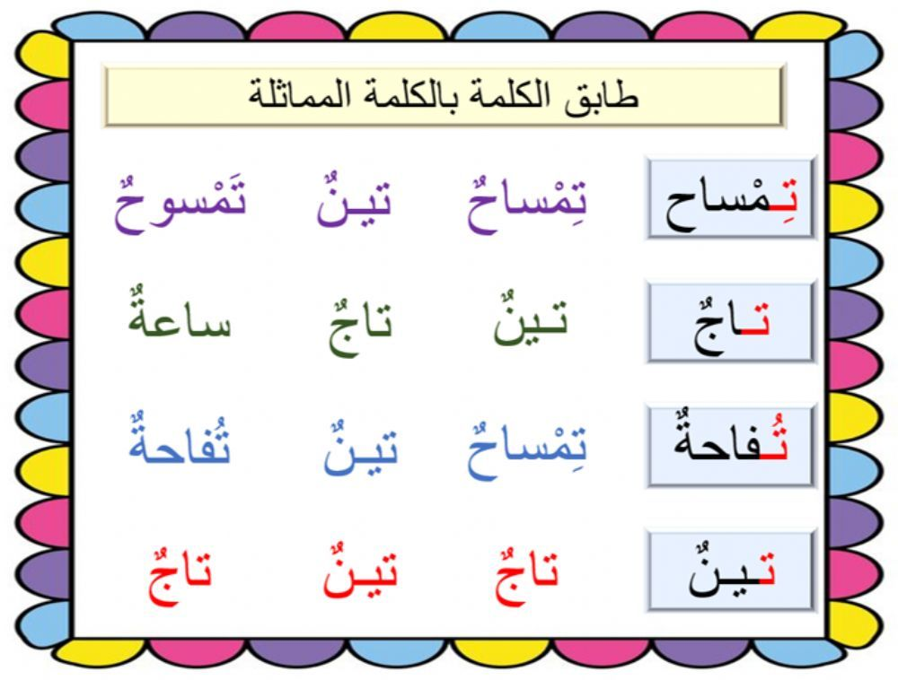 كلمات Online Worksheet For Grade 1 You Can Do The Exercises Online Or Download The Worksheet As Arabic Alphabet For Kids Learning Arabic 1st Grade Worksheets