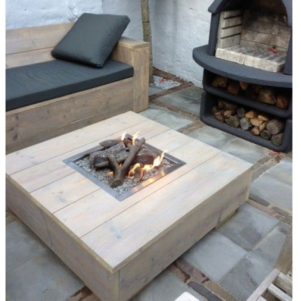 Vuurtafel maken van steigerhout tuin pinterest for Tuintafel maken van steigerhout