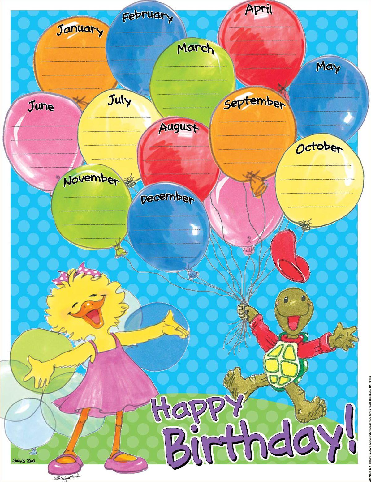 Classroom Decoration Happy Birthday : Suzy s zoo birthday months school charts classroom decor