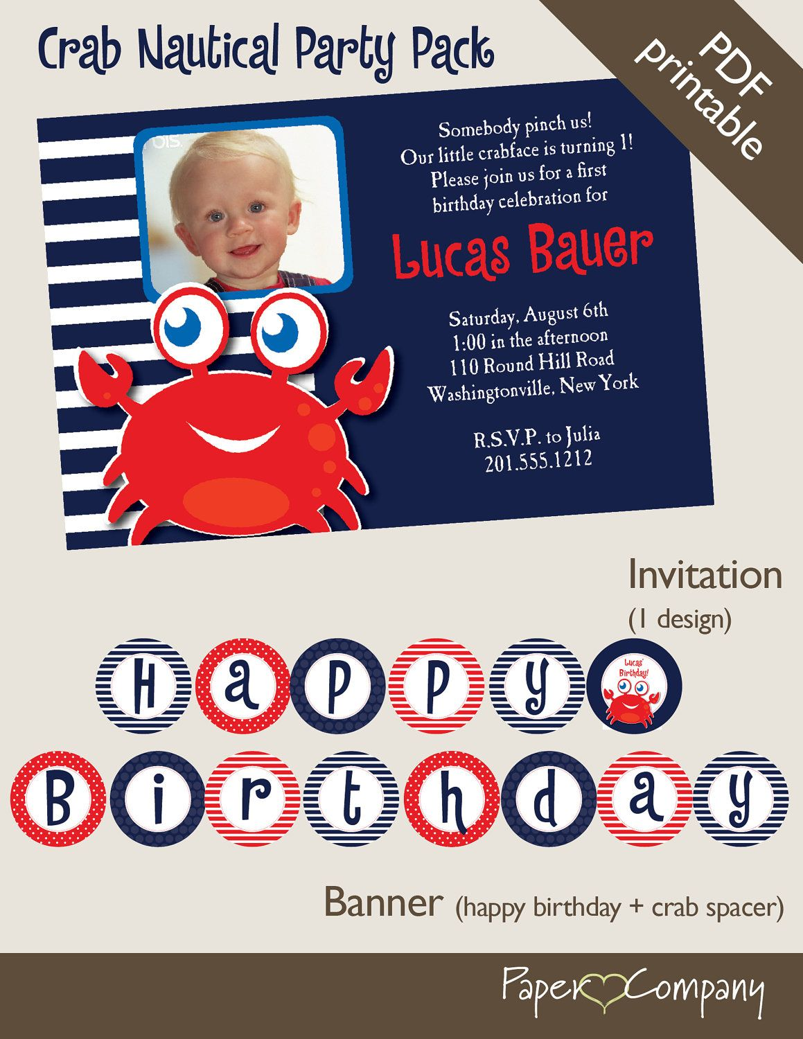 CRAB Nautical First Birthday Birthday Party by PaperHeartCompany ...