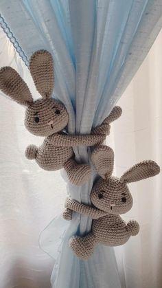 Bunny Curtain Tieback, Rabbit curtain tieback, Har